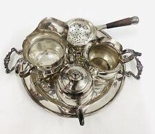 More details for solid sterling silver tea service set, tray, tea strainer, sugar bowl & jugs