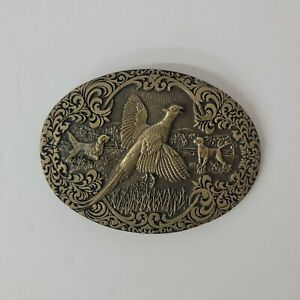Award Design Medals Hunting Pheasant Ring Neck Dogs Solid Brass Belt Buckle