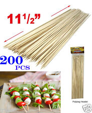"200pcs 11.5"" Bamboo Skewers Wood Sticks BBQ Tools Shish Kabob Fondue Grill Cook"