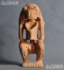 "8"" old Chinese Hongshan Culture old jade hand-carved Skull skeleton man statue"