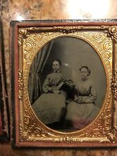 Tintype in case - Two girls sitting in dresses
