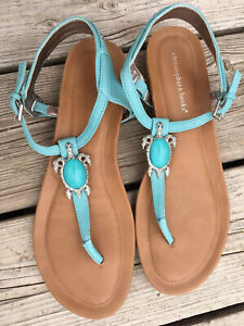 Christopher & Banks Jules Blue Turtle Thong Slingback Sandals size 9W Women's