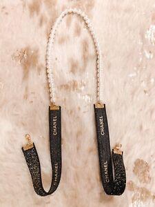 New Glass Pearls black Ribbon Mask/sunglasses Chain
