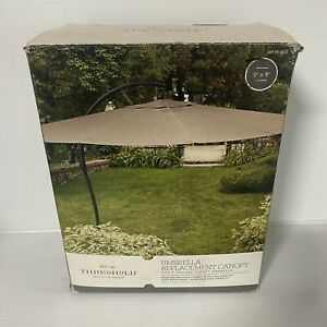 New Open Box Threshold 9' Square Offset Umbrella Replacement Canopy-BEIGE (A)