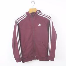 Vintage Women's ADIDAS Burgundy Red Full Zip Hoodie | Original Sport | Size 8