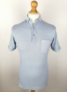 Mens Fred Perry Short Sleeve Button Down Polo Shirt Size Small Slim Fit Blue