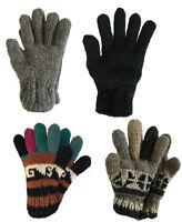 Hand-Knitted Pure Wool Gloves Mittens Fleece Lined, Men/women, Handmade Nepal