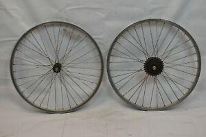 "24"" Kids Bike Wheelset OLW100 20mm 36S 6 Speed Freewheel Silver Schrader Charity"