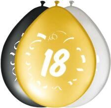 Folat - Lot de 8x Ballons de 30 cm - 3 Couleurs pour Anniversaire, Fête, 18 Ans