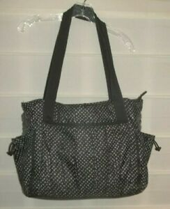 Thirty One Black Gray Large Polyester Nylon Carry All Shoulder Bag EC!