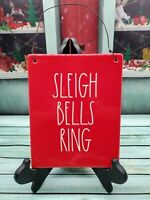 NEW Rae Dunn Red SLEIGH BELLS RING Wall Ceramic Plaque Hanging Sign With Wire
