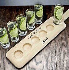 Personalised LSA International 40 cm Vodka Set and Oak Paddle, Frosted