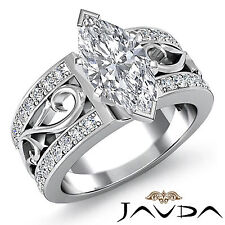Women's Marquise Diamond Sturdy Engagement Ring GIA F Color SI1 Platinum 1.55 ct