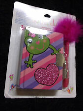 new girlie frog Princess fancy journal mini scented diary  lock keys fuzzy pen
