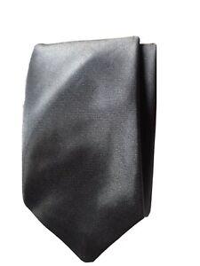 Black Satin Feel Skinny Tie Claires