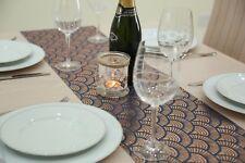 Navy Blue & Gold Fabric Table Runner 2.5 Meters Long Elegant (8ft Length)