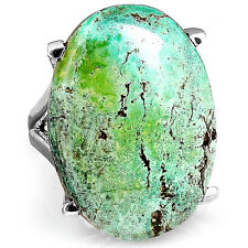 Solid 925 Sterling Silver Ring Big Turquoise Genuine Gemstone Boho Magic Size 7