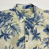 Batik Bay Button Up Shirt Men's Size 2XL XXL Short Sleeve Tan Blue Hawaiian