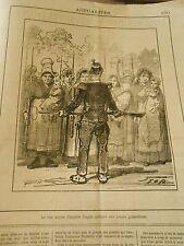 Caricature 1882 - Le vrai moyen d'inspirer esprit militaire aux jeunes les bébés