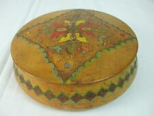 German Wooden Round Covered Lid Box Hand Carved Painted Center Emblem Felt 7.5""