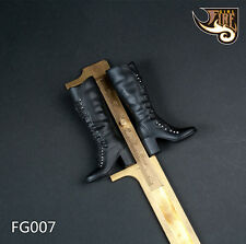 Fire Girl Toys 1/6 Black Leather High Heel Boots Shoes Figure Solid FG007