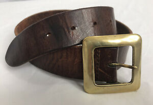 "Vintage Brown Leather Brass Buckled Belt Size 30"" 32"" Retro 70's"