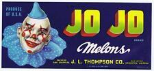 Jo Jo melons, fruit crate label, clown, J L Thompson Co Somerton Arizona