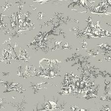 Wallpaper Designer French Country Scenic Gray and Eggshell White Toile