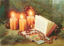 Hungary seasonal greetings  new year christmas candles luck book  Postcard