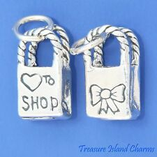 LOVE TO SHOP SHOPPING BAG 3D .925 Solid Sterling Silver Charm MADE IN USA