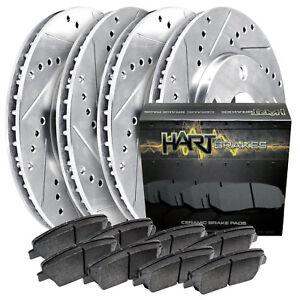 [FRONT+REAR KIT]Platinum Hart -*DRILL & SLOT* Brake Rotors  +CERAMIC Pads- 2533