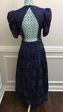 VTG 80s NWT Scott Jessica McClintock Blue Long Satin Prom Dress Women's 14 12 10