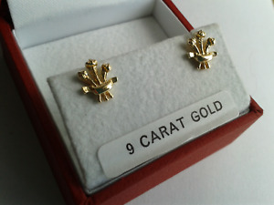 9ct Gold  Solid Welsh Feathers Stud Earrings. Butterfly Backs.