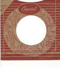 45 COMPANY SLEEVE-  CAPITOL RECORDS- RED AND LIGHT BROWN SLEEVE- EARLY ISSUE