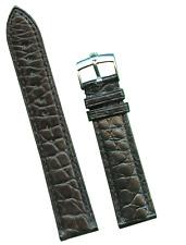 GEN MB ALLIGATOR BLACK STRAP BAND 19mm EXTRA LONG & GENUINE ROLEX STEEL BUCKLE