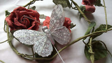 Silver Feather Butterfly with Glitter - 7.0cm wingspan