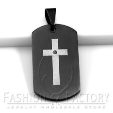 Fashion MEN Stainless Steel Military Black Dog Tag Silver Cross Pendant Cool 12S