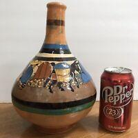 Mexican Pottery Hand Painted Tlaquepaque Vase Jug Man Sombrero Donkey Vtg 30 40s