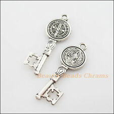 4Pcs Tibetan Silver Tone Jesus Cross Key Charms Pendants 14.5x41.5mm