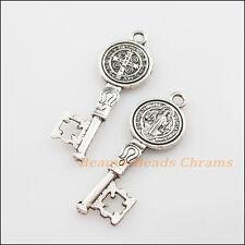 4Pcs Tibetan Silver Tone Jesus Cross Key Charms Pendants 14.5x41.5mm