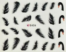 Nail Art 3D Decal Stickers Black Swan Feathers E426