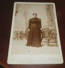 CABINET PHOTO  Watervile Maine  Young Woman Great Gown and Setting by C A Smith