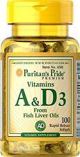 VITAMINS A & D3 FISH LIVER OIL IMMUNE SKIN HAIR BONE 5400IU SUPPLEMENT 100 SGels