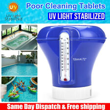 Swimming Pool Chemical Dispenser Chlorine Tablet Feeder w/ Floating Thermometer