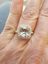Green Amethyst Cushion Cut And Diamond Ring 10kt Solid Yellow Gold