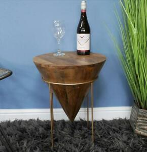 Unusual Round Conical Wooden Coffee Side Table with gold stand