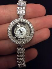 HANDMADE Luxury Turkish silver round analog womens watch CZ mother pearl dial