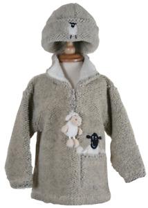 Dangly Sheep Zip Neck Childrens Fleece With Keyring - Pebble