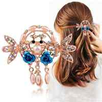 Women Crystal Flower Hair Crab Claws Clip Girl Rhinestone Barrette Hairpin
