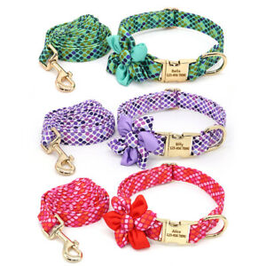 Flower Personalized Dog Collar and Leash set with Engraved Metal Name Plate Tag